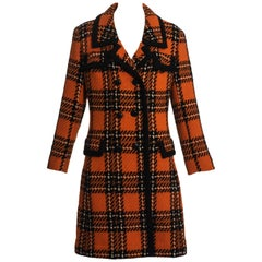 Hardy Amies orange wool tweed checked double breasted coat, c. 1960