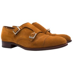 Hardy Amies Tan-brown Suede Double Monk Shoes Size UK 8