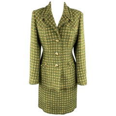 HARDY AMIES Vintage Size M Green Tweed Skirt Suit