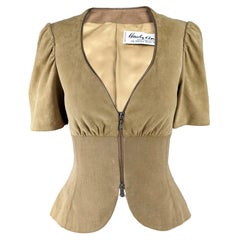 Hardy Amies Vintage Womens Suede & Cotton Short Sleeve Jacket