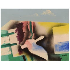 Hardy Strid, Swedish Artist, Acrylic on Canvas. Modernist Composition