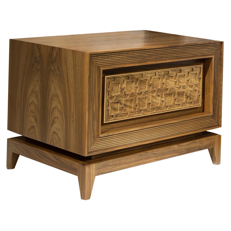 Hare Nightstand, Solid Walnut Wood High-Gloss Nightstand