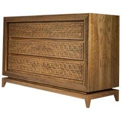 Harem Dresser, Solid Walnut Wood Carved Dresser