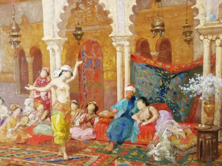 Harem, Giulio Rosati Oil on Wood Orientalism 19th Century Italian Painting In Good Condition For Sale In Rome, Italy