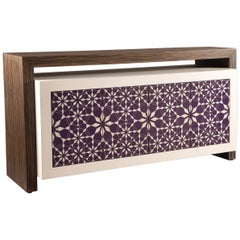 Harem Sideboard, Contemporary Sideboard in Ebony Wood and Mother-of-Pearl Inlay