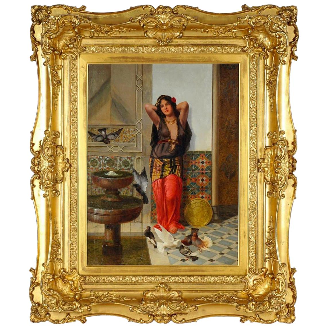 Harem Woman by Vincent Stiepevich, Signed Orientalist Oil Painting