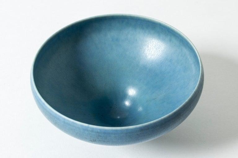 Mid-20th Century Hare's Fur Glazed Swedish Blue Stoneware bowl by Berndt Friberg for Gustavsberg For Sale