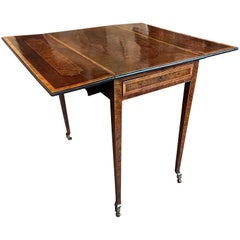 Harewood and Burr Yew Pembroke Table Attributed to Henry Kettle