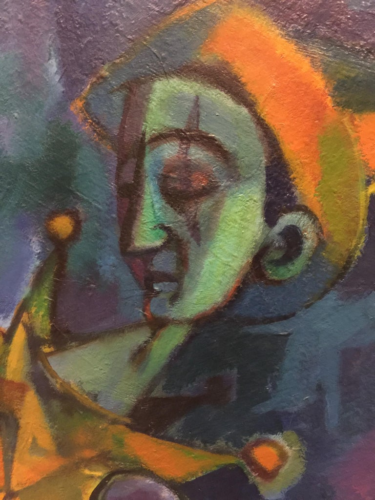 Harlequin Abstract Modernism Oil Painting on Canvas by Remo Bramanli In Excellent Condition For Sale In Pasadena, CA