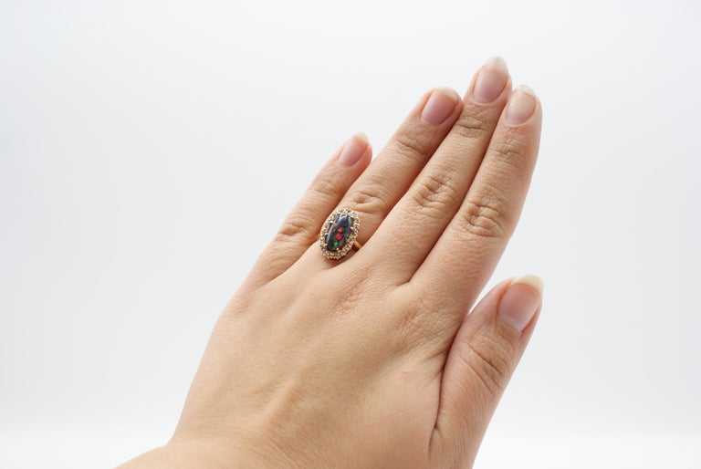 Harlequin Black Opal Victorian Diamond Gold Ring, circa 1880 In Excellent Condition For Sale In New York, NY