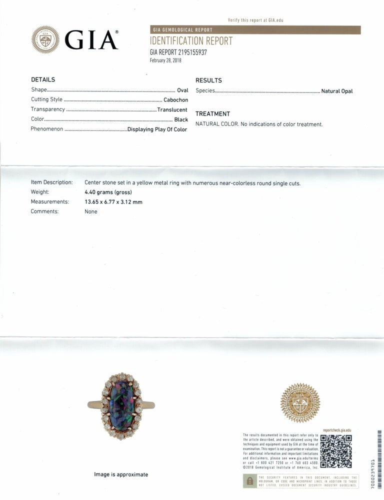 Women's or Men's Harlequin Black Opal Victorian Diamond Gold Ring, circa 1880 For Sale
