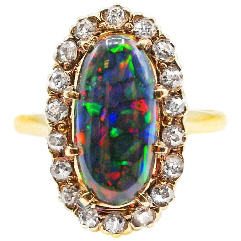 Harlequin Black Opal Victorian Diamond Gold Ring, circa 1880 For Sale