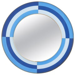 Harlequin Round Mirror in Multi-Blue