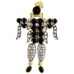 Harlequin Sapphire Diamond Gold Pendant