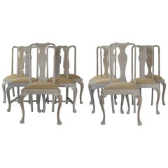 Harlequin Set of 10 Antique Gustavian Style Urn Back Dining Chairs