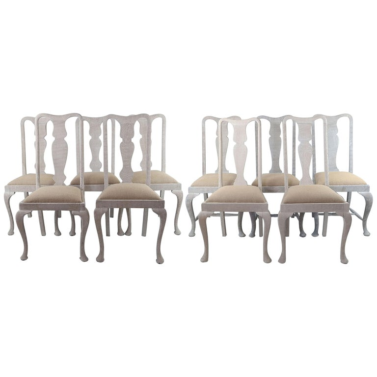 Harlequin Set of 10 Antique Gustavian Style Urn Back Dining Chairs For Sale