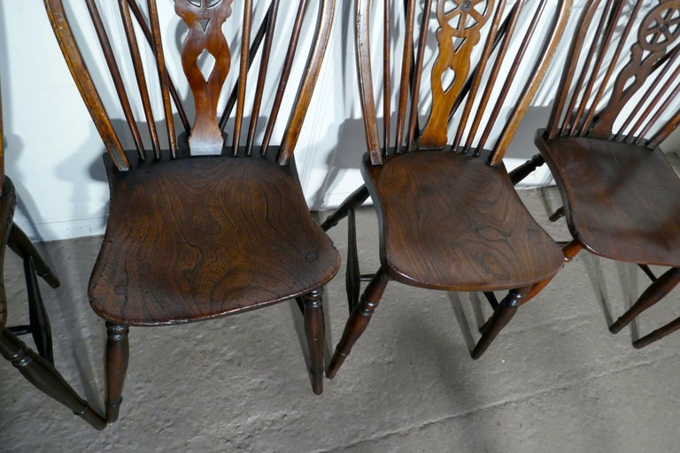 Harlequin Set of 10 Victorian Beech and Elm Wheel Back Windsor Dining Chairs 2