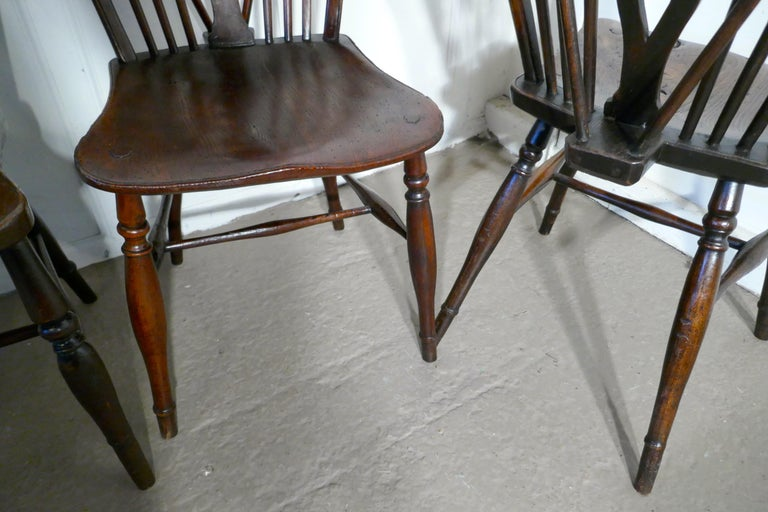 Harlequin Set of 10 Victorian Beech and Elm Wheel Back Windsor Dining Chairs 3