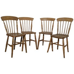 Harlequin Set of 4 Victorian Beech & Elm Country Kitchen Chairs