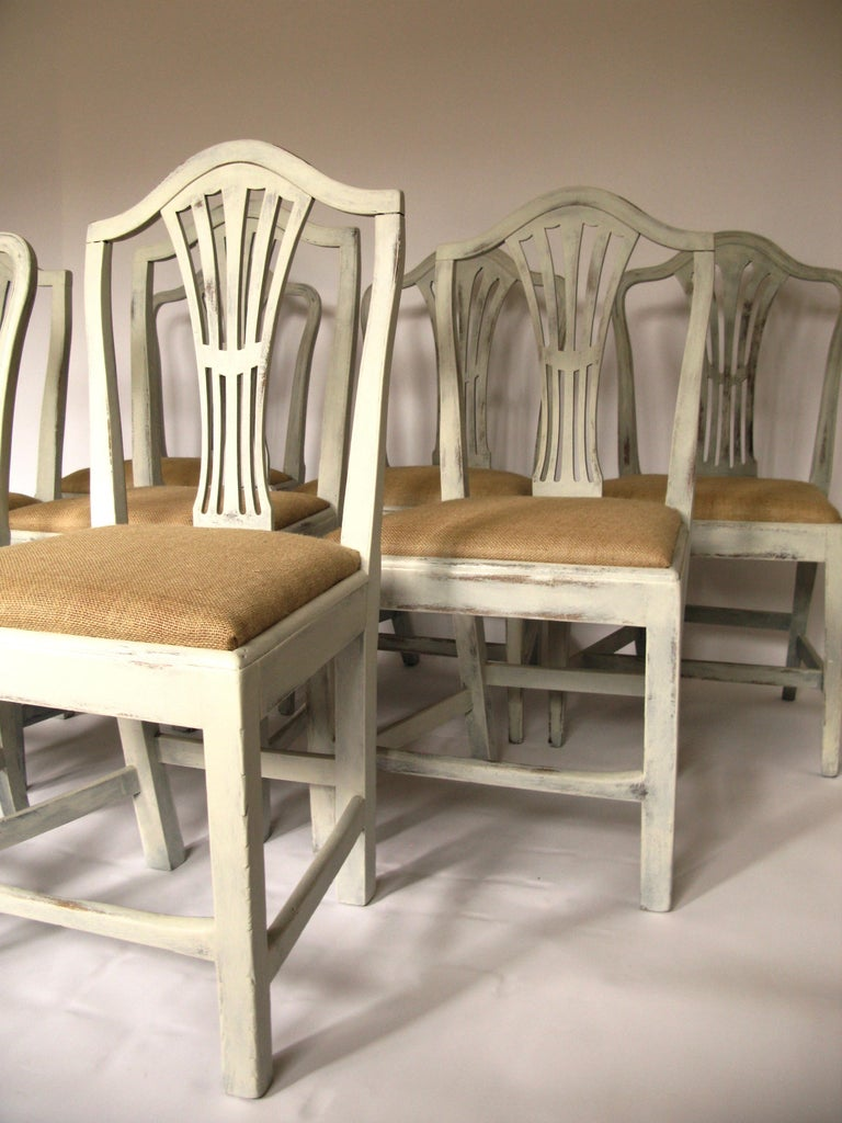 Hepplewhite Harlequin Set of 8 Antique Chairs, Early 19th Century, England, Decorative