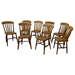 Harlequin Set of 8 Beech & Elm Country Kitchen Dining Chairs
