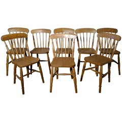 Harlequin Set of 8 Victorian Beech and Elm Country Kitchen Chairs