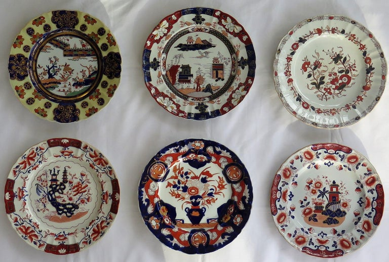 This is a harlequin set of six Mason's Ironstone, large dinner plates, all dating between the early to mid-19th century, between 1825-1865.  All the plates have a very similar shape profile and size with some slight variation in height and