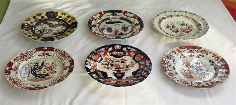 English 19th C. Harlequin Set of SIX Mason's Ironstone Large Dinner Plates, Circa 1840
