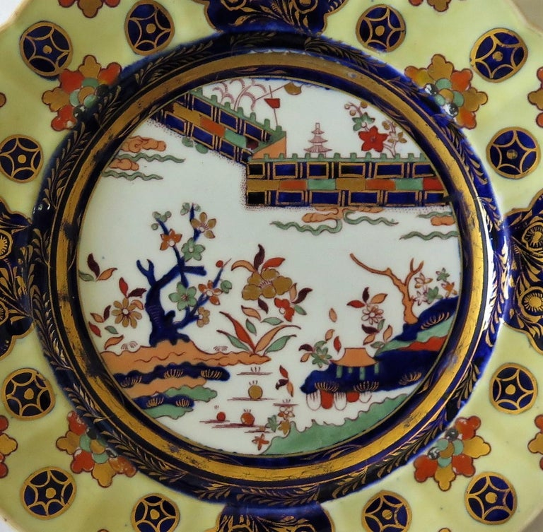 19th C. Harlequin Set of SIX Mason's Ironstone Large Dinner Plates, Circa 1840 In Good Condition In Lincoln, Lincolnshire