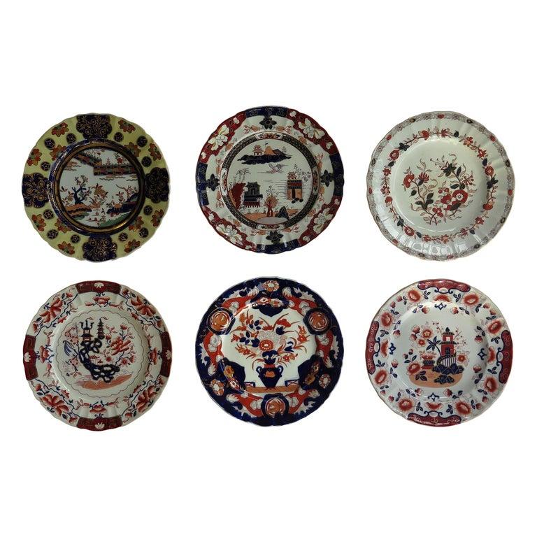 19th C. Harlequin Set of SIX Mason's Ironstone Large Dinner Plates, Circa 1840