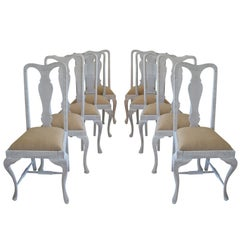 Harlequin Set of Ten ( 10 ) Antique Gustavian Style Urn Back Dining Chairs