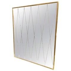 Harlequinn Mirror Glass Vintage Italian Midcentury Brass Mirror