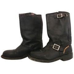 HARLEY DAVIDSON Black Leather Boots. Size 8 (UK)