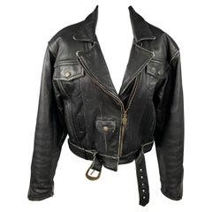 HARLEY DAVIDSON Vintage Size L Black Antique Leather Motorcycle Drifter Jacket