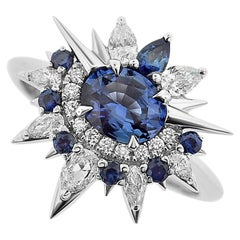 Harlin Jones 18 Karat White Gold Blue Sapphire and Diamond Ring