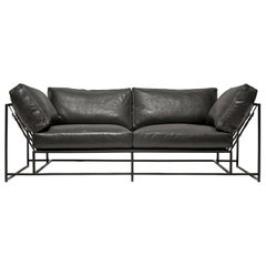 Harness Black Leather and Blackened Steel Two-Seat Sofa