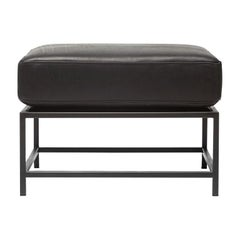 Harness Black Leather and Blackened Steel Ottoman