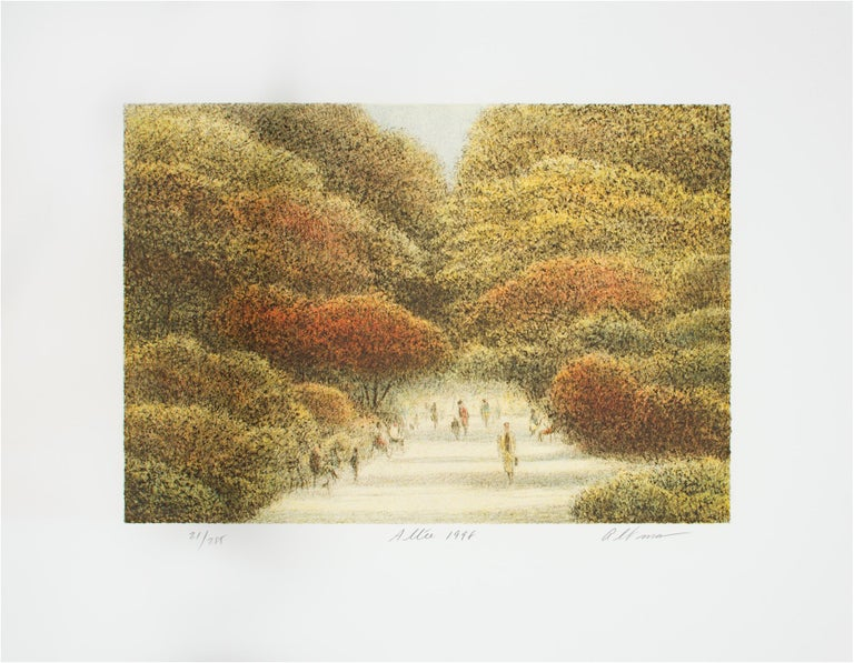"""""""Allee"""" is an original color lithograph by Harold Altman. It is 21 out of an edition of 285, signed by the artist in the lower right hand corner. This print features a bustling parkway framed by an abundance of dense park foliage.  9"""" x 12""""  Harold"""
