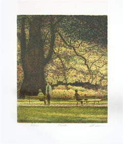 """Benches,"" Original Color Lithograph signed by Harold Altman"