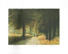 """""""Country Lane,"""" Original Color Lithograph signed by Harold Altman"""
