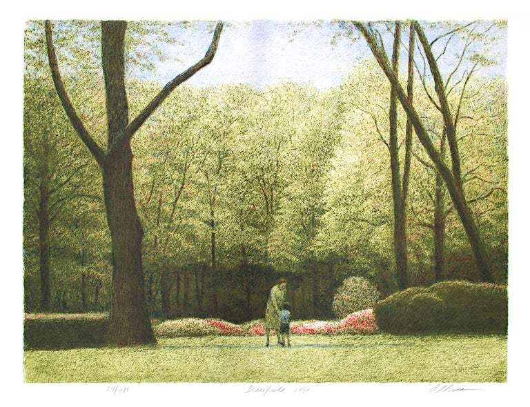 """""""Deerfield"""" is an original color lithograph by Harold Altman. It is numbered 24 out of an edition of 285. A bright blue sky looks down on a lush green forest. Within the lawn, a mother and son are seen together. Flowers add a bright pop of red"""