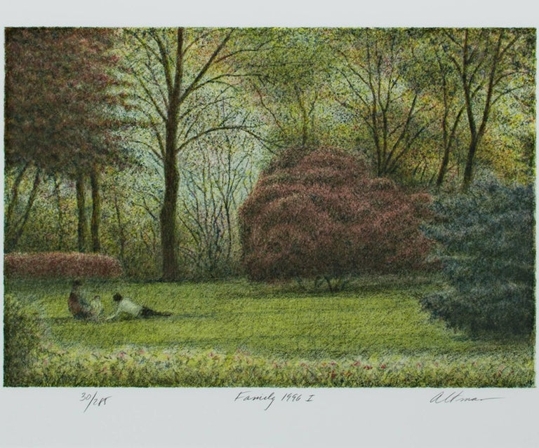 """""""Family (suite of 2)"""" is a suite of two original color lithographs by Harold Altman. These pieces are to be sold as a pair only. They depict families interacting in lush green parks. The artist signed the piece in the lower right, titled them lower"""