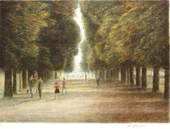 Jardin du Luxembourg II 1993, Limited Edition Lithograph, EA, Signed by Artist
