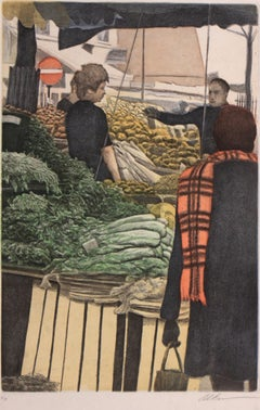 Market of Vegetables-Limited Edition Etching, EA, Signed by Artist
