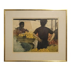 """""""Market With Oranges"""" Colorful Abstract Print of Three Figures and Fruit"""