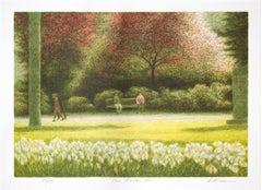 """""""Parc Monceau,"""" Original Color Lithograph signed by Harold Altman"""