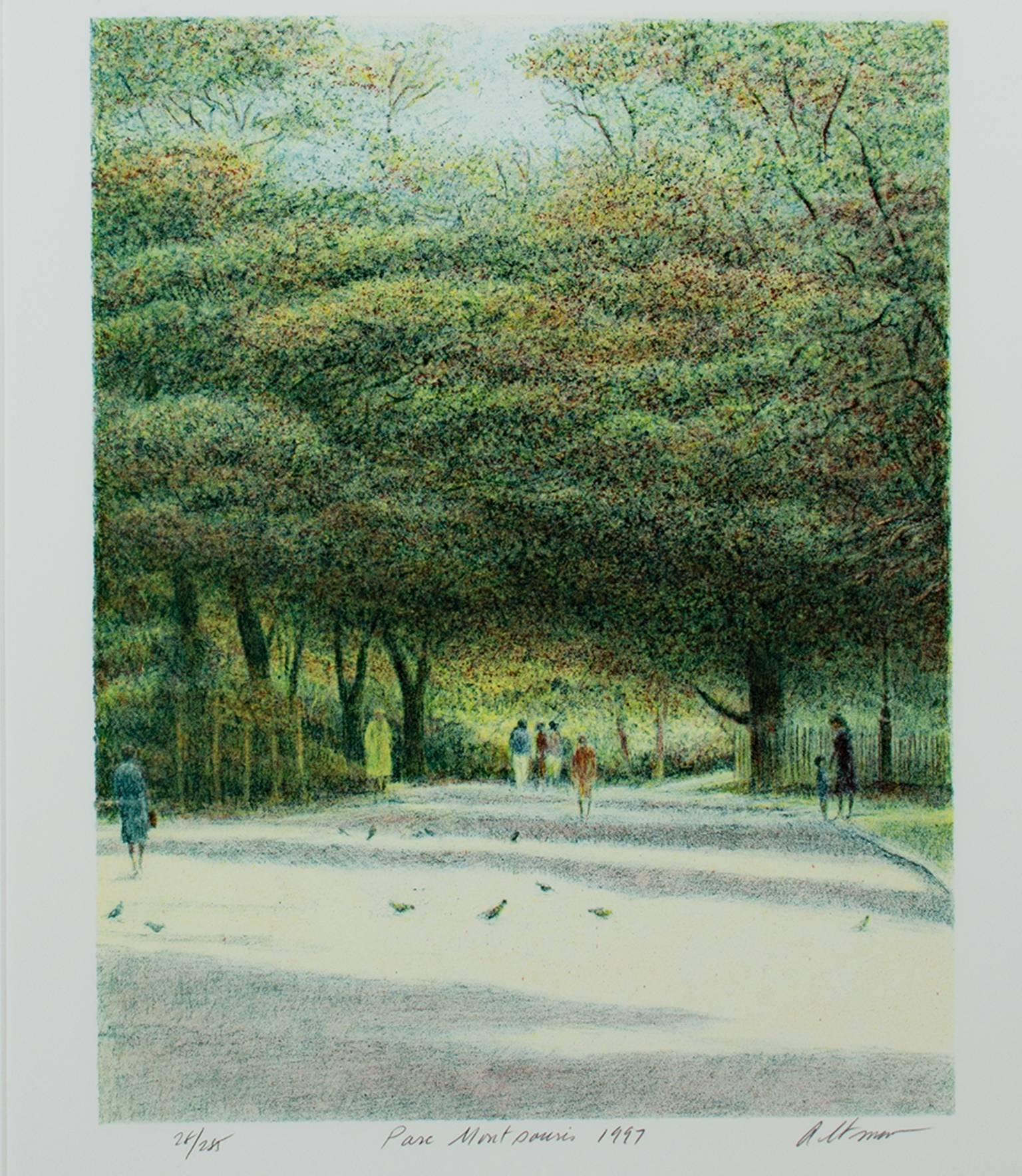 """""""Parc Montsouris,"""" Original Color Lithograph Park View signed by Harold Altman"""