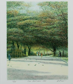 """Parc Montsouris,"" Original Color Lithograph Park View signed by Harold Altman"