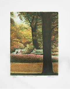 """""""Park Monceau,"""" Original Color Lithograph signed by Harold Altman"""