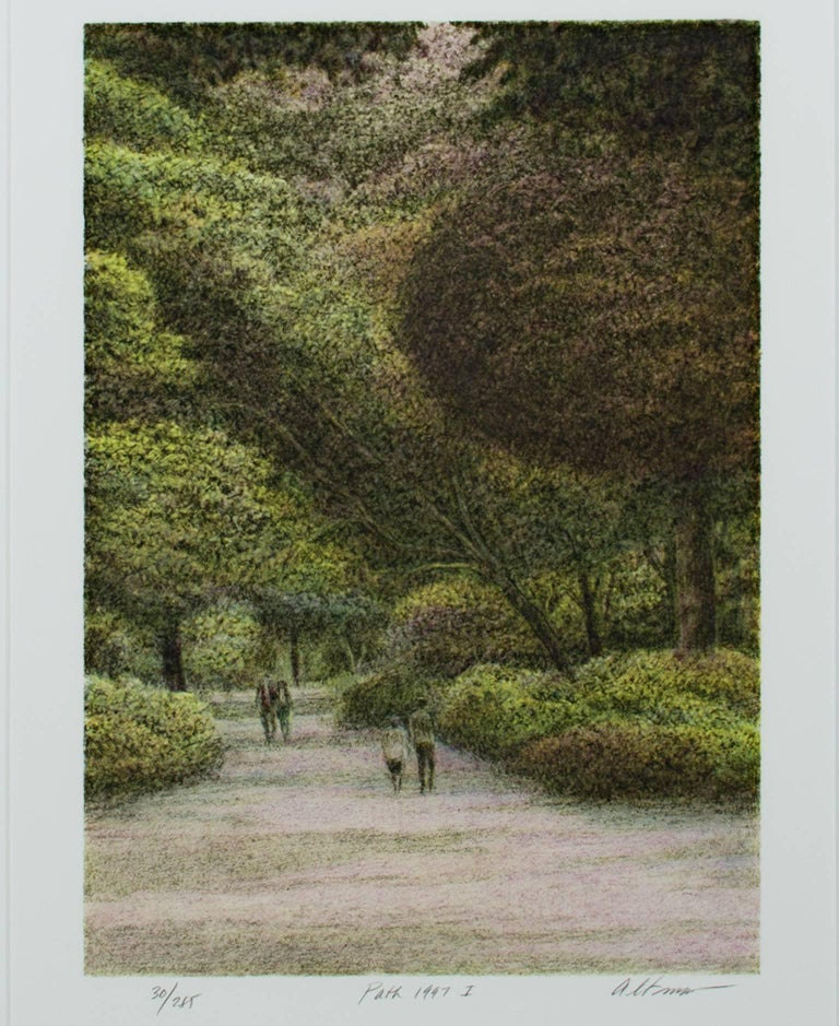 """""""Path"""" is an original color lithograph by Harold Altman. The artist signed the piece lower right, wrote the title of the piece in the lower center, and wrote the edition number (30/285) in the lower left. This piece depicts a few people walking down"""